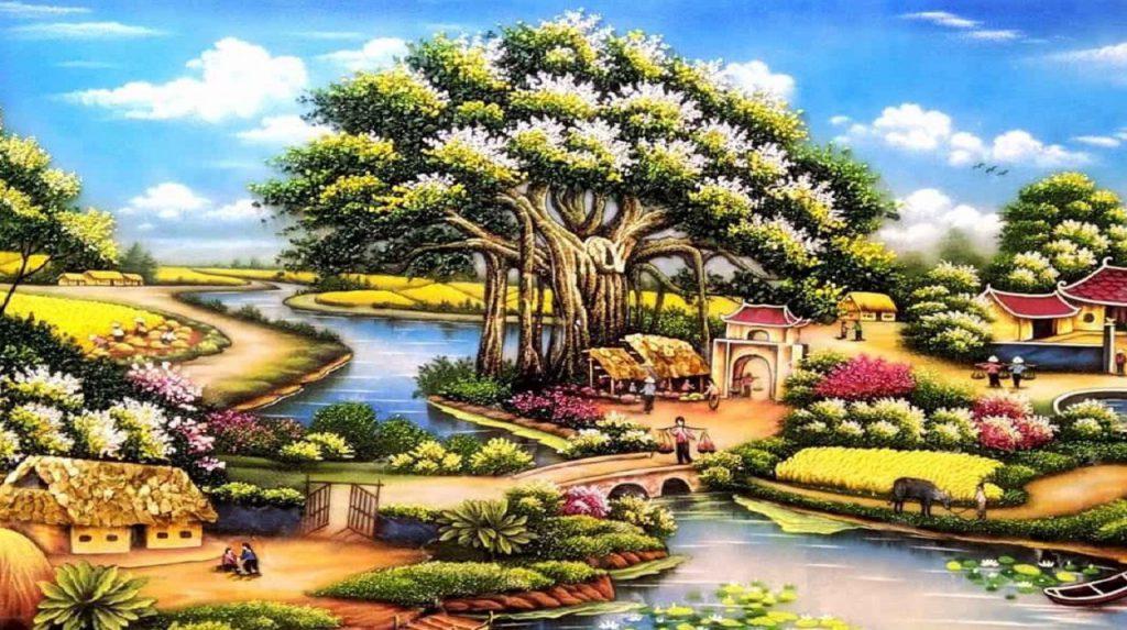 8 1 1024x573 - Mẫu tranh đá quý phong cảnh làng quê chất lượng giá rẻ tại hà nội
