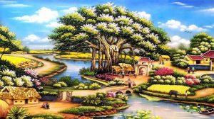 8 1 300x168 - Mẫu tranh đá quý phong cảnh làng quê chất lượng giá rẻ tại hà nội